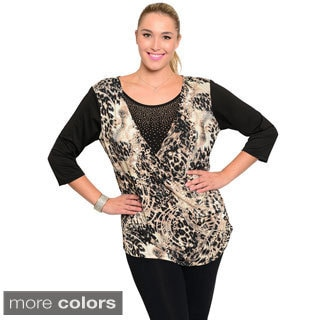 Stanzino Women's Plus Size Rhinestone Detailed Animal Print Top