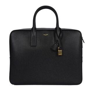 Saint Laurent Men's 'Classic Museum' Large Black Leather Briefcase