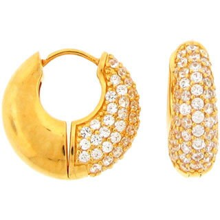 Meredith Leigh Gold Over Sterling Silver Cubic Zirconia Huggy Hoops