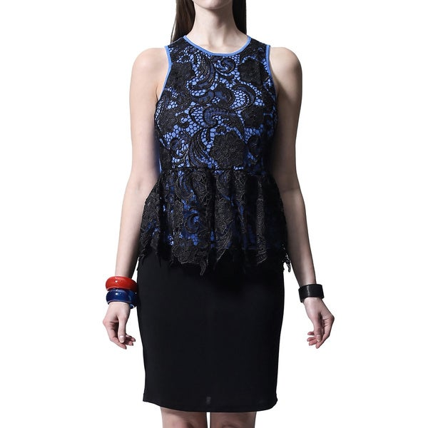 Mossee Women's Blue Lace Sleeveless Peplum Top