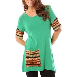 Mossee Women's Green Single Pocket Tunic