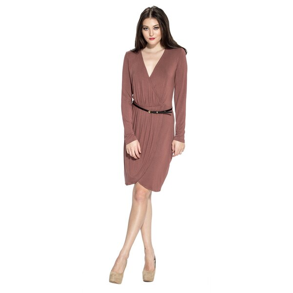 Amelia Women's Pleated Long-sleeve Belted Dress