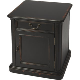 Side Table/Cabinet with Handcrafted Wood Inlay - Midnight Rose