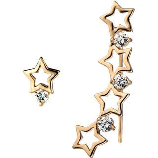 Goldtone Shooting Star Crystal Ear Cuff Set