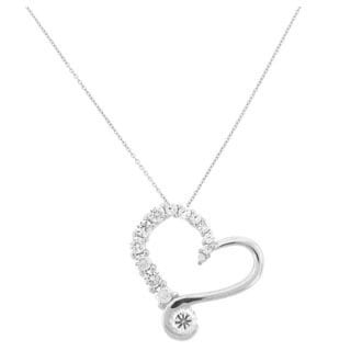 Meredith Leigh Sterling Silver Cubic Zirconia Journey Heart Pendant