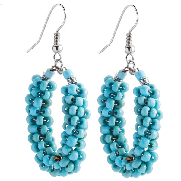 Kele & Co Turquoise Glass Bead Dangle Earrings