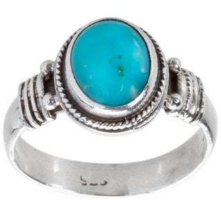 Kele & Co .925 Sterling Silver Oval-cut Turquoise Ring