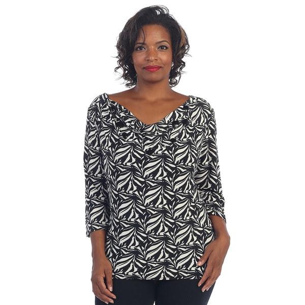 Hadari Women's Plus 3/4-length Sleeve Floral Cowl Neck Blouse