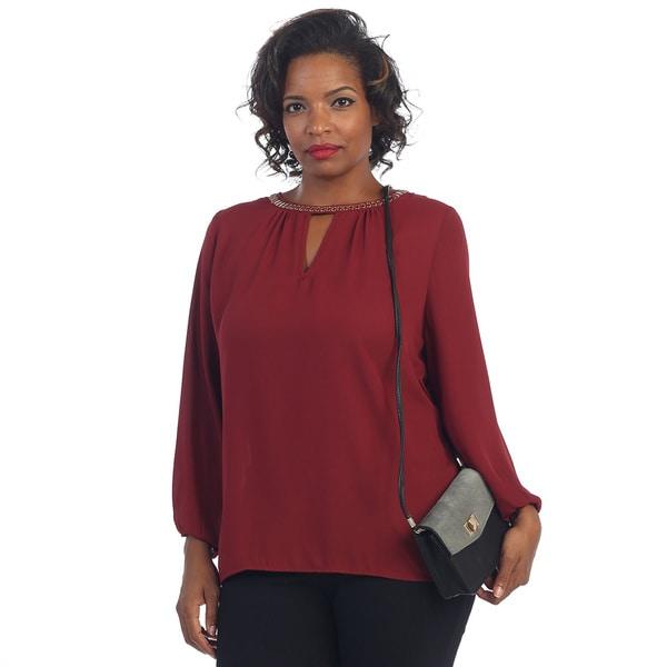 Hadari Women's Plus Long-sleeve Sheer Blouse