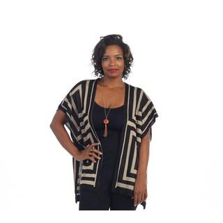 Hadari Women's Plus Black/ Brown Geometric Cardigan
