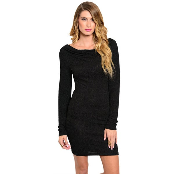 Stanzino Women's Jeweled Low-back Long Sleeve Dress