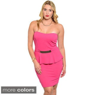 Stanzino Women's Plus Size Sweetheart Peplum Party Dress