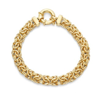 Gioelli Sterling Silver and Gold-plated 8-inch Byzantine Bracelet