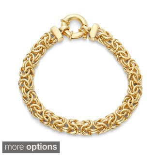Sterling Silver and Gold-plated 8-inch Byzantine Bracelet