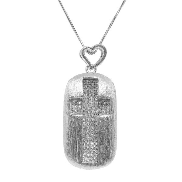 Gioelli Sterling Silver Rectangle Cross Clear Cubic Zirconia Pendant Necklace