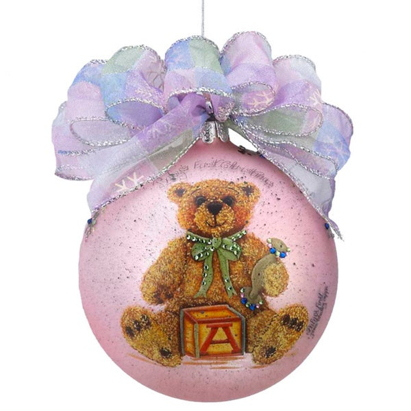 Kurt Adler 120mm Janis Capps Baby's First Christmas Girl Bear Glass Ball Ornament
