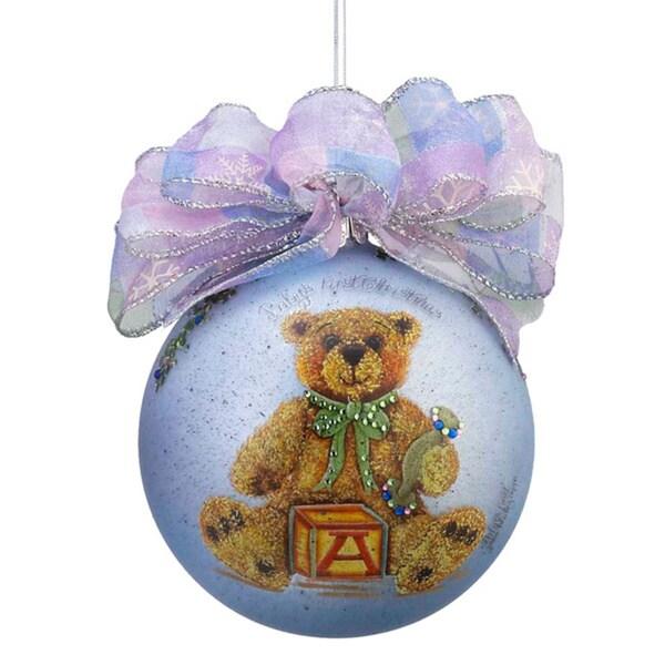 Kurt Adler 120mm Janis Capps Baby's First Christmas Boy Bear Glass Ball Ornament