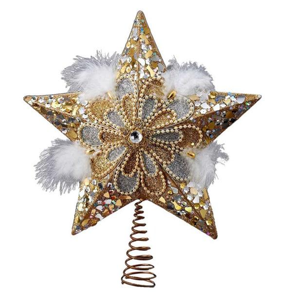 Kurt Adler 13.5-inch Silver/Gold Glitter Star Treetop