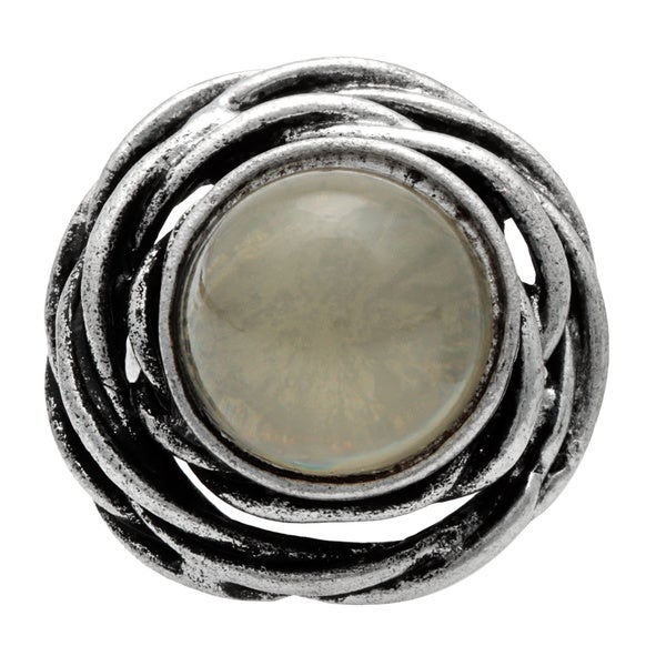 Silvertone Grey Accent Stone Ring