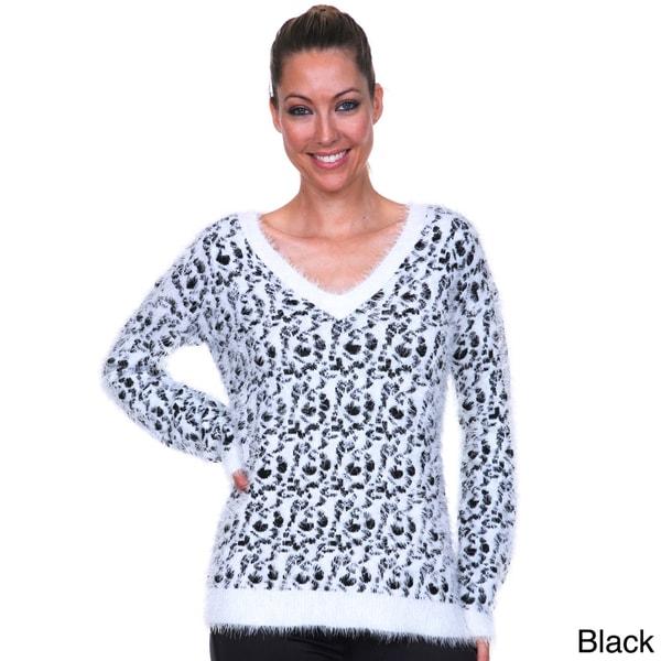 White Mark Women's Eyelash-knit Leopard Sweater
