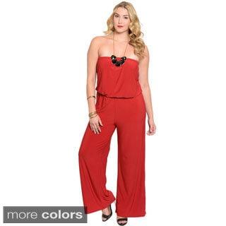 Stanzino Women's Plus Size Strapless Wide-leg Jumpsuit