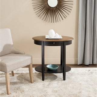 Safavieh Monica Black Oak Oval End Table