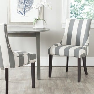 Safavieh Lester Grey/ Bone Stripe Dining Chair (Set of 2)