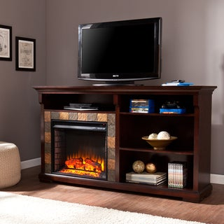Upton Home Ennis 62-inch Espresso Bookshelf Electric Fireplace