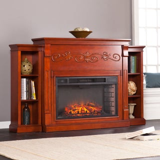 Upton Home Tramore Classic Mahogany Bookcase Electric Fireplace