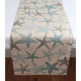 Starfish Foil Print with Sequins Table Runner