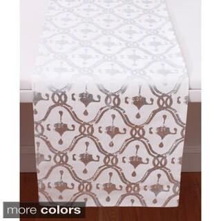 Reena Woodblock Metallic Print Table Runner