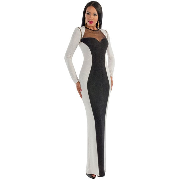 Kayla Collection Women's Black and Ivory Long-sleeve Gown