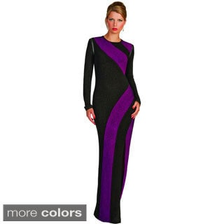 Kayla Collection Women's Colorblocked Long-sleeve Gown