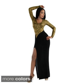 Kayla Collection Women's Two-tone Metallic and Black Maxi Dress