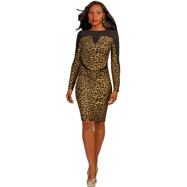Kayla Collection Women's Leopard Print Straight Dress