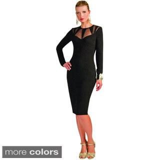 Kayla Collection Women's Mesh and Rhinestone Straight Dress