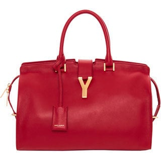 Saint Laurent 'Cabas Classique Y' Red Leather Tote