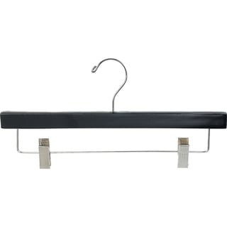 Black Wooden Bottoms Hanger with Clips