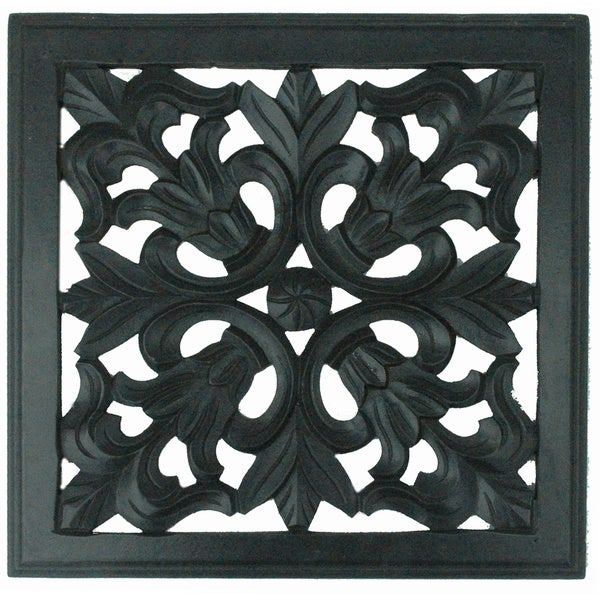 Hand-carved Black Wooden Decorative Wall Panel (India)