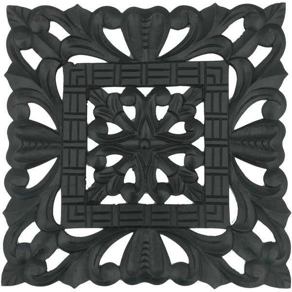 Hand-carved Black Decorative Wooden Wall Panel (India)