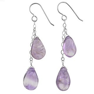 Ashanti Sterling Silver LavenderAmethyst Gemstone Handmade Earrings (Sri Lanka)