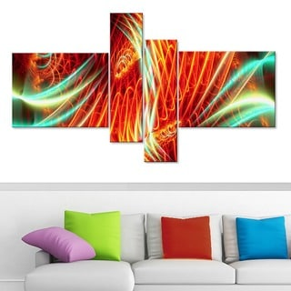 Abstract 'Light Show' 4-piece Red and Green Canvas Art