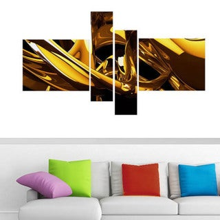 Abstract 'Molten Gold' 4-piece Large Canvas Print
