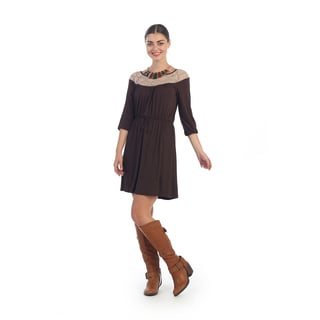 Hadari Women's Brown Light Knit A-line Dress