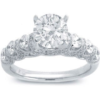 14k White Gold 1 3/5ct TDW Round-cut Diamond Engagement Ring (G-H, SI1-SI2)