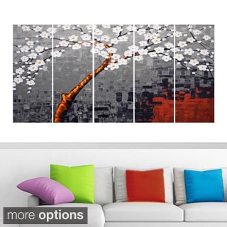 Abstract 'Grey and White Flowers' 5-piece Canvas Print