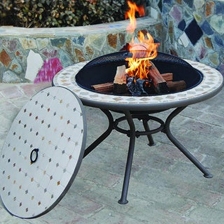 Deeco Marble Milano Fire Pit Table