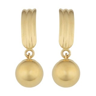 14k Yellow Gold Dangling Ball Post Earrings