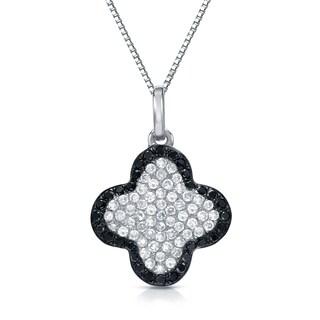 Auriya 14k White Gold 1/3ct TDW Black and White Diamond Necklace (H-I, SI1-SI2)