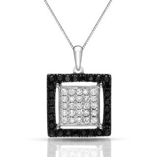 Auriya 14k White Gold 1/3ct TDW Black and White Diamond Square Necklace (H-I, SI1-SI2)